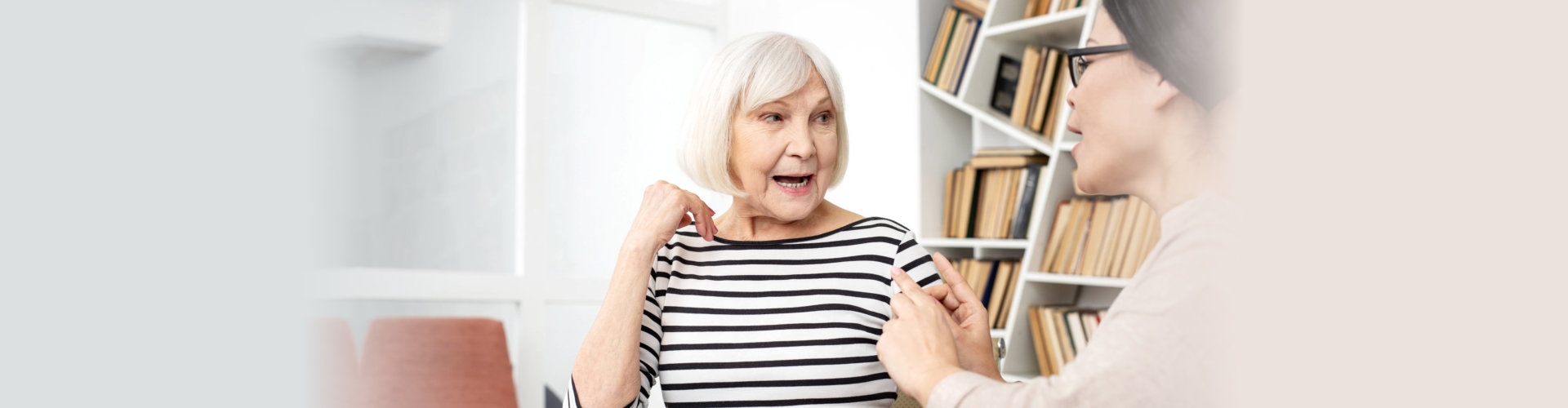 senior woman having speech therapy